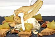 Warm-Poached-Pear-Tart-with-Saffron-and-Cinnamon,-caramelised-Almonds,-Gingerbread-Ice-Cream